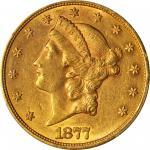 1877-CC Liberty Head Double Eagle. AU-58 (PCGS).