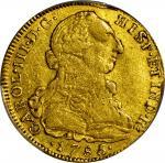 COLOMBIA. 8 Escudos, 1785-NR JJ. Santa Fe de Nuevo Reino (Bogota) Mint. Charles III (1759-88). PCGS
