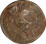 1787 New Jersey copper. Maris 73-aa. Rarity-4. Plaited Mane. Overstruck on 1747 Machin's Mills halfp