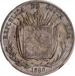 COSTA RICA. 50 Centavos, 1880-GW. NGC F-15.