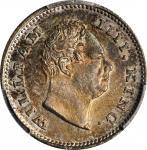 1835年印度1/4卢比。孟买铸币厂。INDIA. 1/4 Rupee, 1835-(B). Bombay Mint. William IV. PCGS MS-62 Gold Shield.