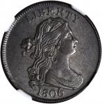 1806 Draped Bust Half Cent. C-4. Rarity-1. Large 6, Stems to Wreath. MS-62+ BN (NGC). CAC.
