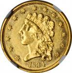 1834 Classic Head Quarter Eagle. McCloskey-3. Large Head. MS-60 (NGC).