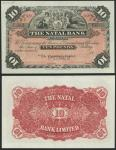 Natal Bank, South Africa, specimen 」10, ca 1890, pink and black, arms flanked by maidens top centre,