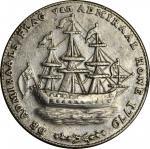 """1778-1779"" (ca. 1780) Rhode Island Ship Medal. Betts-563, W-1745. Wreath Below Ship. Pewter. AU-55"