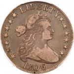 1806 Draped Bust Half Dollar. Knobbed 6, small stars
