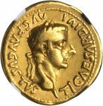 TIBERIUS, A.D. 14-37. AV Aureus (7.50 gms), Lugdunum Mint, ca. A.D. 16.