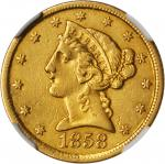 1858-C Liberty Head Half Eagle. AU Details--Improperly Cleaned (NGC).