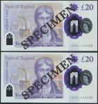 Bank of England, Sarah John, polymer £20, ND (20 February 2020), serial number AA01 000828/838, purp