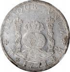 1771-Mo FM年墨西哥壹圆银币。墨西哥城造币厂,查理三世。MEXICO. 8 Reales, 1771-Mo FM. Mexico City Mint. Charles III. NGC MS-