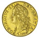 George II (1727-1760), Guinea, 1745 LIMA, intermediate laureate head left, LIMA below, reads GEORGIU