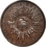 COLOMBIA. 1847 pattern Decimo. Restrepo P18. Bronze. PR-64 BN (PCGS).