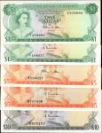 BAHAMAS. Central Bank of the Bahamas. 1 to 10 Dollars, 1974. P-35a, 35b,37a, 37b & 38a. Choice Uncir
