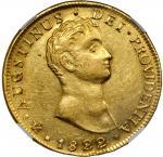 MEXICO. 8 Escudos, 1822-Mo JM. Mexico City Mint. Augustin I Iturbide. NGC AU-58.