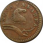 1786 New Jersey copper. Maris 24-R. Rarity-5+. Narrow Shield, Curved Plow Beam. EF Detail, Damage (P