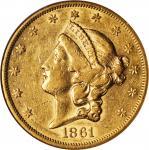 1861 Liberty Head Double Eagle. AU-50 (NGC).