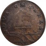 1787 New Jersey Copper. Maris 68-w, W-5400. Rarity-5. Outlined Shield. Fine-12 (PCGS).