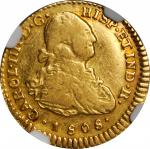 COLOMBIA. Escudo, 1808-P JF. Popayan Mint. Charles IV. NGC VF-30.