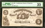 T-11. Confederate Currency. 1861 $5. PMG Choice Very Fine 35.