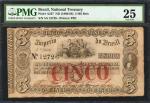 BRAZIL. Imperio do Brazil. 5 Mil Reis, ND (1860-68). P-A237. PMG Very Fine 25.