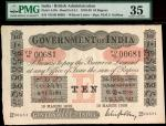 x Government of India, 10 rupees, 1920, serial number YD89 00681, black and white with value in pink