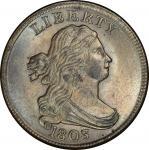 1803 Draped Bust Half Cent. Cohen-1, Breen-1. Rarity-1. Mint State-64+ BN (PCGS).