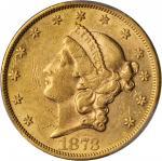 1873 Liberty Head Double Eagle. Close 3. AU-53 (PCGS).