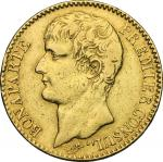 World Coins, France.  Napoleon as First Consul (1799-1804). . 40 Francs AN 12 (1804), Paris mint. Fr