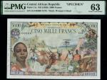 Central African Republic, specimen 5000 francs, ND (1980), zero serial numbers, blue and multicolour