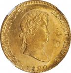 MEXICO. 8 Escudos, 1820-Mo JJ. Mexico City Mint. Ferdinand VII. NGC Unc Details--Cleaned.