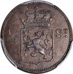 1826-S荷兰东印度群岛苏门答腊1/4 Stuiver。NETHERLANDS EAST INDIES. Sumatra. 1/4 Stuiver, 1826-S. Utrecht Mint. PC