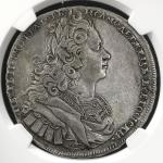 RUSSIA Empire 帝政ロシア Rouble 1727 NGC-XF40 VF+