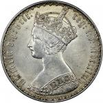 Victoria (1837-1901), Florin, 1864, heavy flan, 14.66g, Gothic crowned bust left, rev. crowned shiel