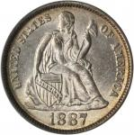 1887 Liberty Seated Dime. MS-65 (PCGS). CAC.