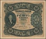 NORWAY. Norges Bank. 50 Kroner, 1942. P-9d. Very Fine.