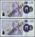 Bank of England, Sarah John, polymer £20, ND (20 February 2020), serial number AA01 000338/388, purp