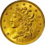 1837 Classic Head Half Eagle. McCloskey-2. Large Date, Large 5. MS-62 (PCGS). CAC.