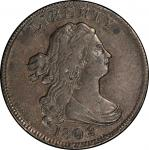1802/0 Draped Bust Half Cent. Cohen-2, Breen-2. Reverse of 1802. Rarity-3. Extremely Fine-45 (PCGS).