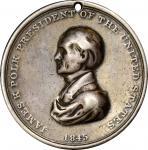1845 James K. Polk Indian Peace Medal. Silver. Second Size. Julian IP-25, Prucha-46. Fine.