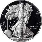 2000-P Silver Eagle. Chief Engraver John M. Mercanti Signature. Proof-70 Deep Cameo (PCGS).