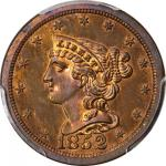 1852 Braided Hair Half Cent. First Restrike. B-2. Rarity-5. Small Berries. Proof-65+ RB (PCGS). CAC.
