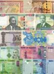A Group of African Banknotes, dates from 1966 - 2015, Uganda (18), Kenya (9), Congo Democratic Repub