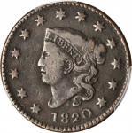 1820 Matron Head Cent. Large Date. Fine-15 (PCGS).