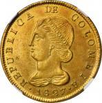 COLOMBIA. 8 Escudos, 1827-BOGOTA JF. Bogota Mint. NGC MS-61.