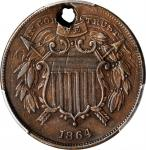 1864 Two-Cent Piece. FS-401. Small Motto. EF Details--Holed (PCGS).