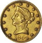 1854-O Liberty Head Eagle. Large Date. AU-53 (PCGS). CAC.