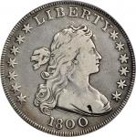 1800 Draped Bust Silver Dollar. BB-190, B-10. Rarity-3. Very Wide Date, Low 8. Fine Details--Tooled