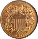 1871 Two-Cent Piece. MS-65 RB (NGC). CAC. OH.
