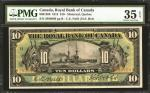 CANADA. Royal Bank of Canada. 10 Dollars, 1913. CAD6301208. PMG Choice Very Fine 35 EPQ.