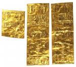 越南时期金城银号铸造金叶子三片共重一两,原包装纸